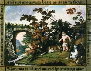 Edward Hicks Peaceable Kingdom of the Branch, oil on canvas, c. 1826–1830. Reynolda House Museum of American Art